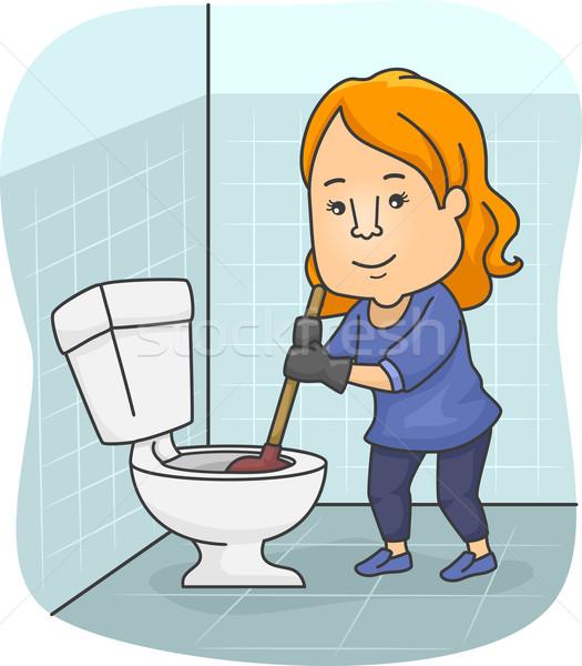 Fille toilettes illustration bol art numérique Photo stock © lenm
