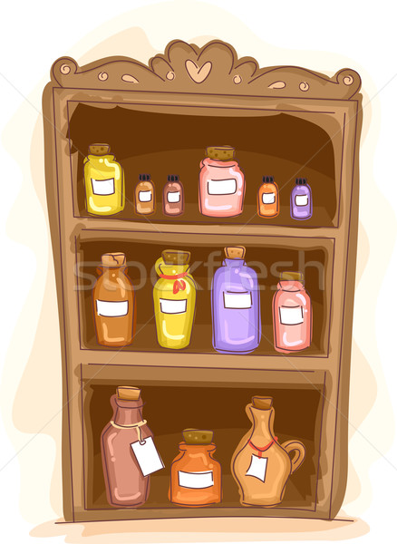 Essential Oil Shelf Stock photo © lenm