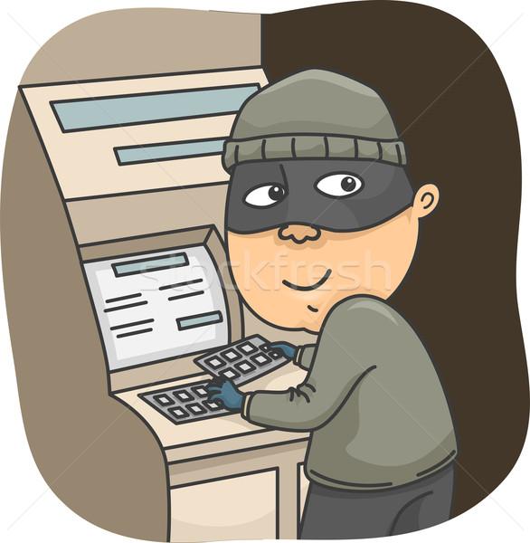 Férfi tolvaj illusztráció installál kártya férfi Stock fotó © lenm