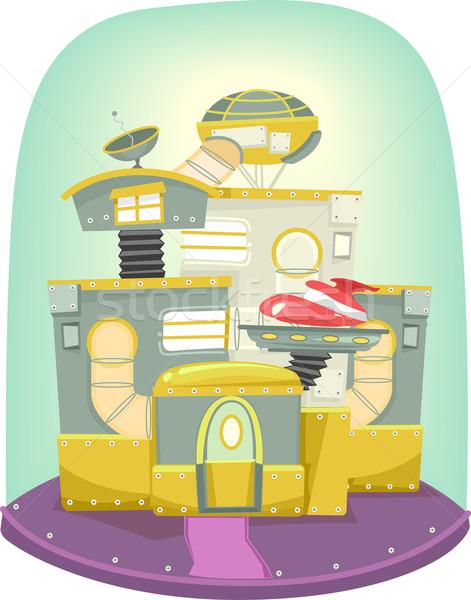 Futuristische illustratie huis ingericht variëteit mechanisch Stockfoto © lenm