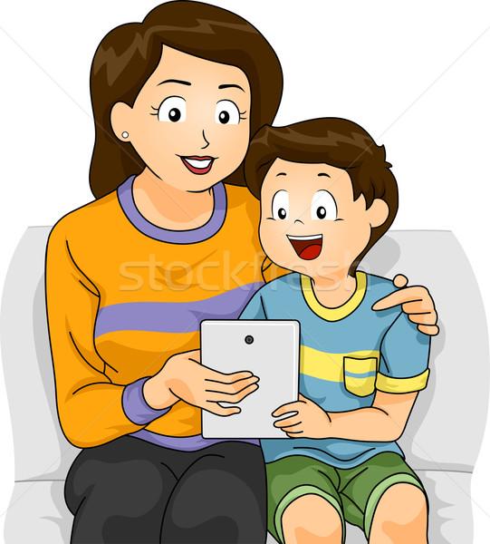 Gyerek fiú anya tabletta illusztráció anya Stock fotó © lenm