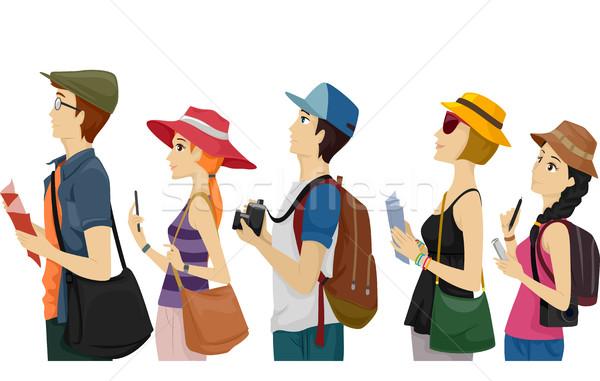 Pessoas turistas espera fila ilustração grupo Foto stock © lenm