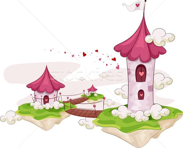 острове башни иллюстрация towers Постоянный Сток-фото © lenm
