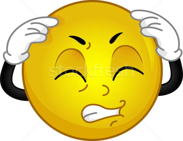Dor de cabeça ilustração emoticon saúde cabeça dor Foto stock © lenm