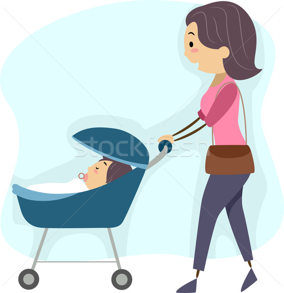 Mother Taking Her Baby for a Walk Stock photo © lenm