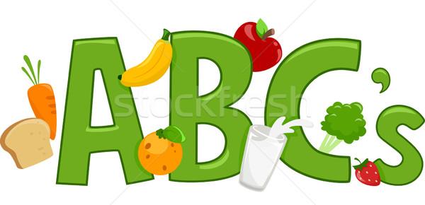 Zdrowa żywność alfabet tekst ilustracja chleba mleka Zdjęcia stock © lenm