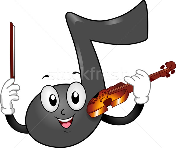 Music Note Mascot with Violin Stock photo © lenm