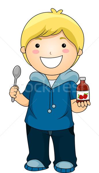 мальчика сироп Витамины иллюстрация счастливым Сток-фото © lenm