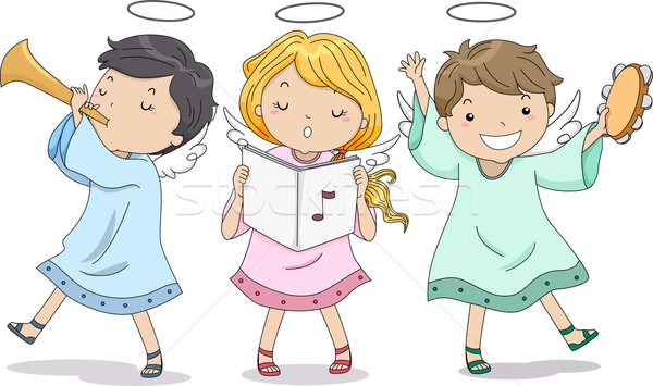 Stockfoto: Engelen · muziek · illustratie · cute · jongen · meisje