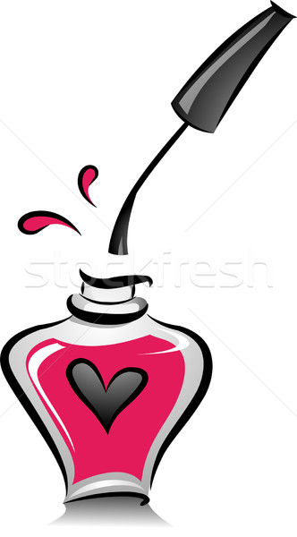 Open fles roze nagellak illustratie zwart wit Stockfoto © lenm