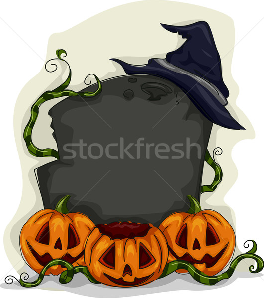 Halloween pierre tombale cadre illustration design vacances Photo stock © lenm