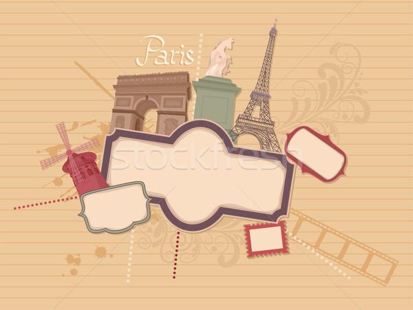 Párizsi scrapbook illusztráció film terv háttér Stock fotó © lenm