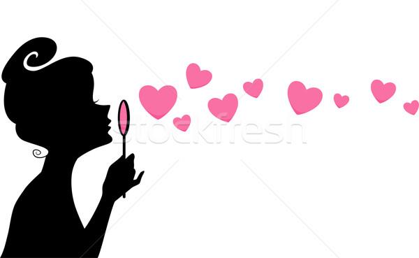Lány buborékfújás sziluett illusztráció fúj buborékok Stock fotó © lenm