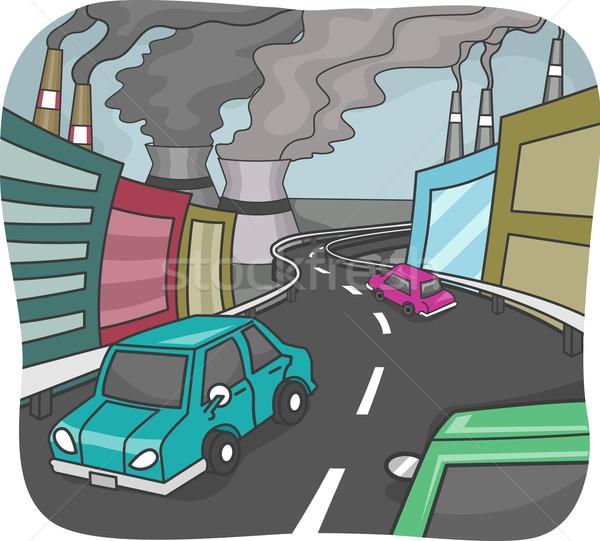 市 汚染 実例 高い 煙 都市 ストックフォト © lenm