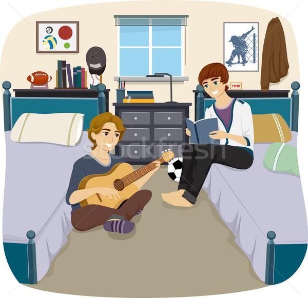 男 室友 插圖 對 時間 一起 商業照片 © lenm