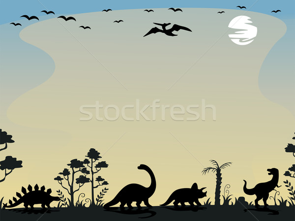 Dinosaur Silhouettes Background Stock photo © lenm