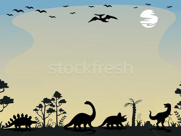 Dinosaurus silhouetten achtergrond illustratie zonsondergang Stockfoto © lenm