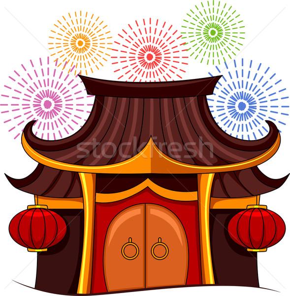 Pagoda fuegos artificiales ilustración colorido chino japonés Foto stock © lenm