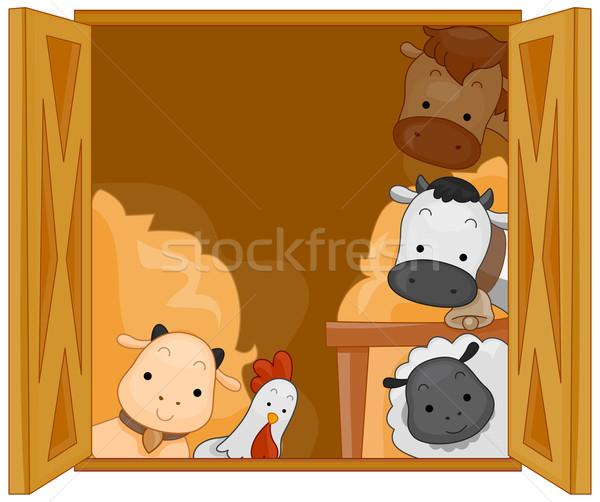 сарай животные иллюстрация милые животные куриные коза Сток-фото © lenm