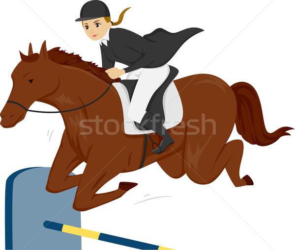 Girl Teen Equestrian Horse Stock photo © lenm