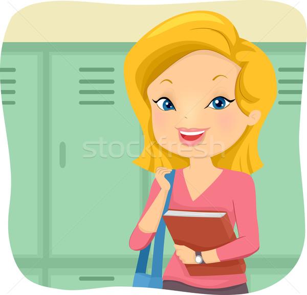 Lány diák főiskola öltözőszekrény illusztráció táska Stock fotó © lenm