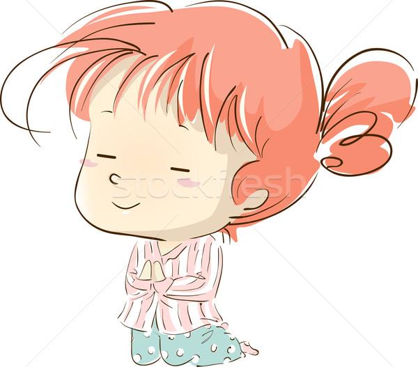 Kid Girl Pray Pajama Stock photo © lenm