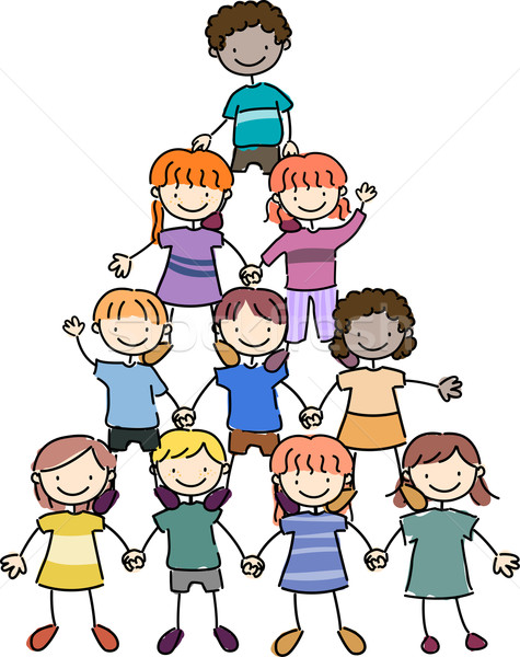 Stock photo: Kids in a Pyramid Formation