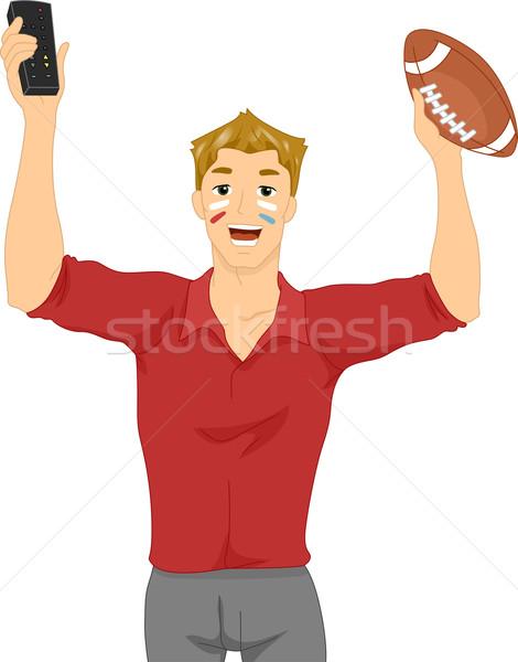 Izlerken futbol tv örnek adam Stok fotoğraf © lenm