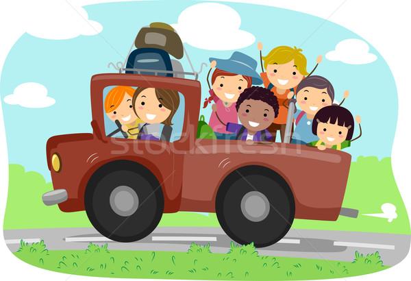 Kampeerder vrachtwagen illustratie kinderen kind jongen Stockfoto © lenm