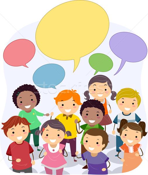 Stickman Kids with Blank Speech Bubbles Stock photo © lenm