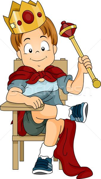 Gyerek fiú játszik herceg illusztráció ül Stock fotó © lenm