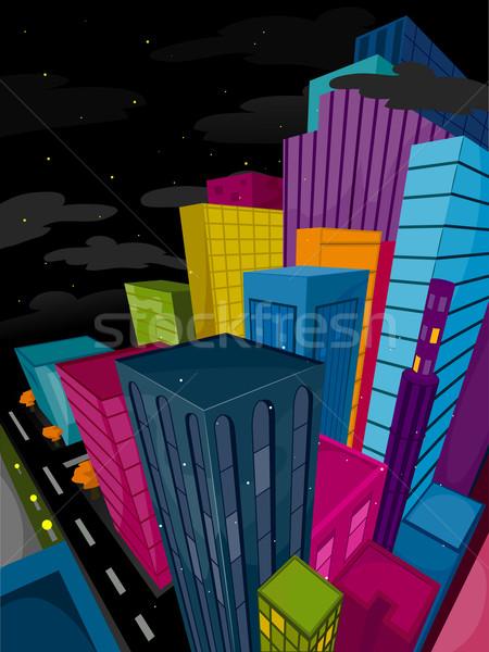 Urban scene funky noc działalności chmury Zdjęcia stock © lenm