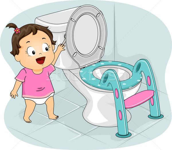 девочку туалет иллюстрация девушки молодые женщины Сток-фото © lenm