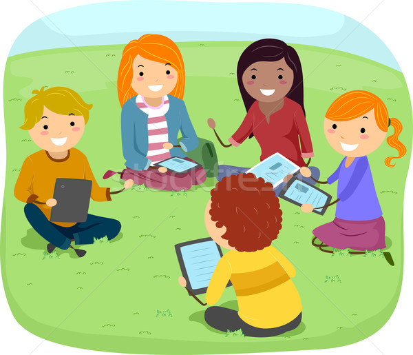 Grupo debate adolescentes ilustración parque ordenador Foto stock © lenm