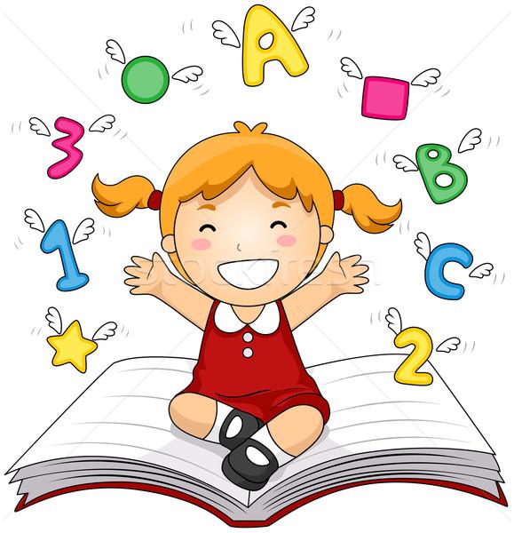 Livro aberto menina livro escolas criança Foto stock © lenm