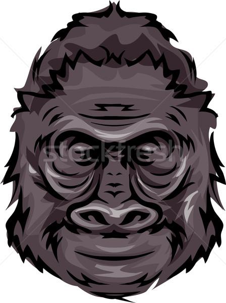 Gorilla illustratie sport bedrijf dier cartoon Stockfoto © lenm