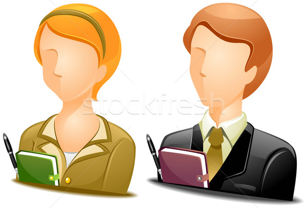 Stockfoto: Secretaris · vrouw · icon · schema · illustratie