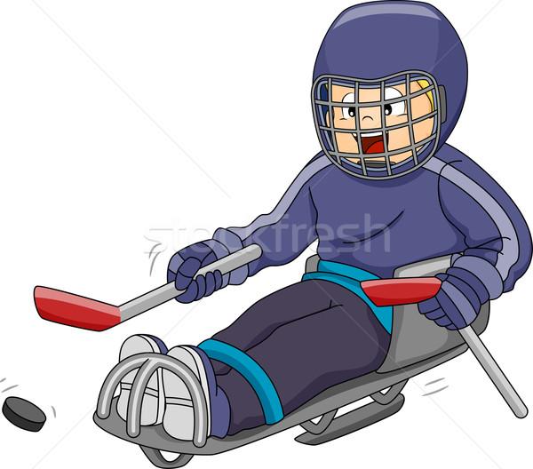 Trenó hóquei ilustração em movimento criança Foto stock © lenm
