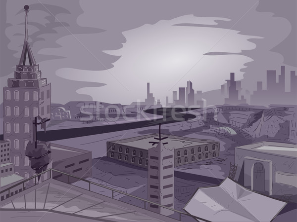 Photo stock: Apocalyptique · ville · scène · illustration · cityscape · bâtiments