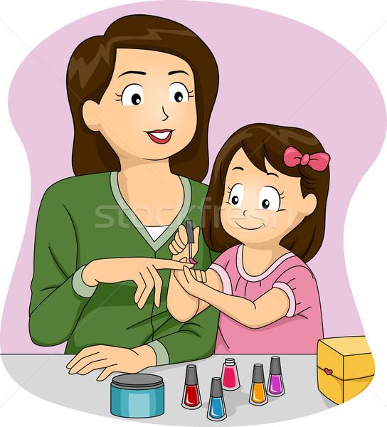 Anya lánygyermek körömlakk illusztráció körmök nő Stock fotó © lenm