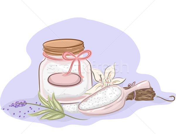 Fürdősó illusztráció bögre házi készítésű hozzávalók eszenciális olajok Stock fotó © lenm