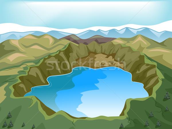 иллюстрация кратер озеро внутри вулкан природы Сток-фото © lenm