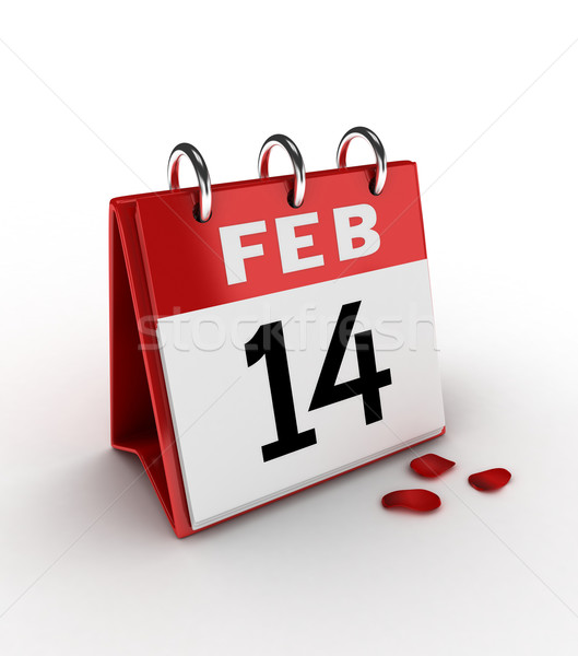 14 3d illustration kalender tonen liefde romantiek Stockfoto © lenm