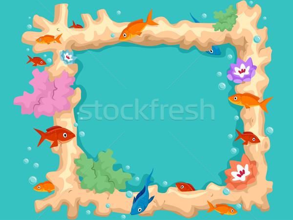 Corail poissons cadre coloré illustration Photo stock © lenm