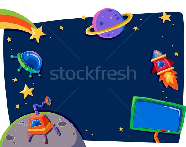Uzay boşluğu çerçeve örnek gezegenler dizayn eğitim Stok fotoğraf © lenm