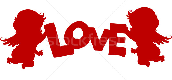 Silueta amor banner corazón rojo Foto stock © lenm