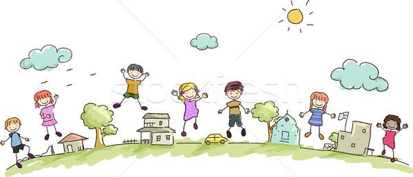 Gyerekek közösség illusztráció boldog város gyermek Stock fotó © lenm