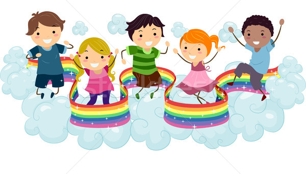 Kids on Rainbow Clouds Stock photo © lenm