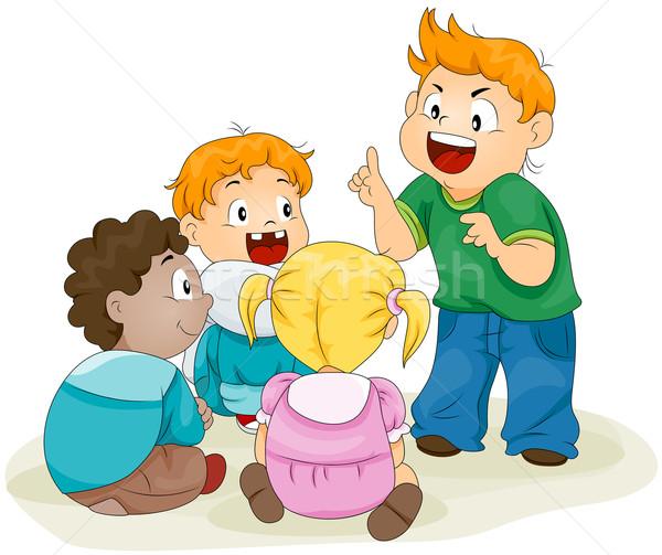 Történet gyermek vágási körvonal oktatás diákok csoport Stock fotó © lenm