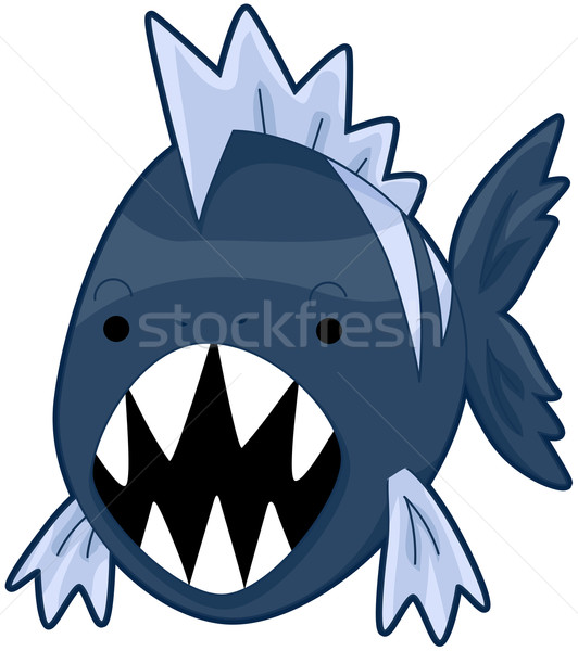 пиранья рыбы подводного животного Cartoon Сток-фото © lenm